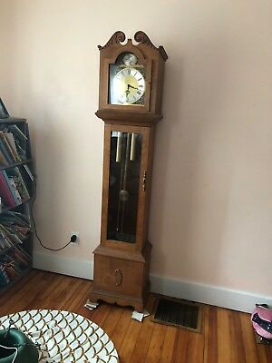 Antique English tall case , grandfather clock bell strike movement