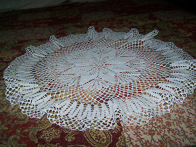 Round Vintage Handmade Cotton Crocheted Lace Tablecloth Topper Doily- Snow white