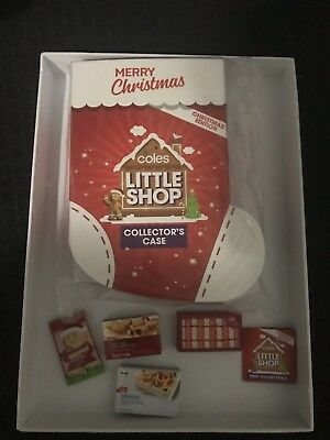 coles little shop mini collectables Christmas Edition Case And 4 Minis