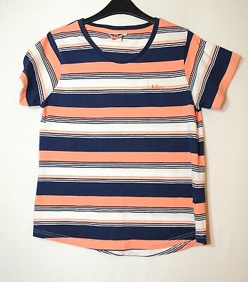 Pink Navy Blue White Striped Ladies Casual Top Blosue Stretch Size 16 Lee Cooper