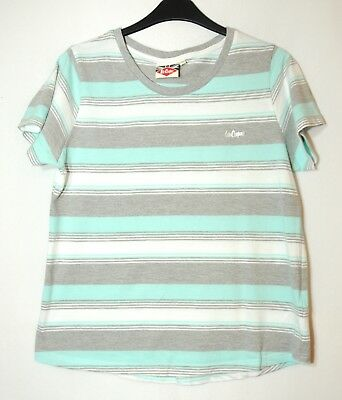 Blue Grey White Striped Ladies Casual Top Blosue Stretch Size 16 Lee Cooper