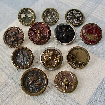 Assortment of 12 Victorian Metal Picture Buttons