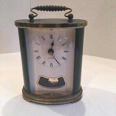 Vintage Green Quartz Carriage Clock Battery Operated
