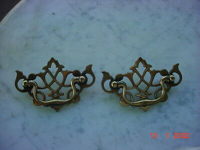 "Vintage  CHIPPENDALE Drawer FURNITURE Pulls Set 2 BRASS FINISH 2 1/2"" Holes"
