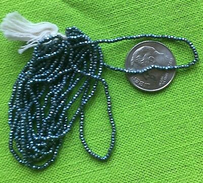 Vintage French Steel Cut Beads, Faceted, Blue, 8 gram hank