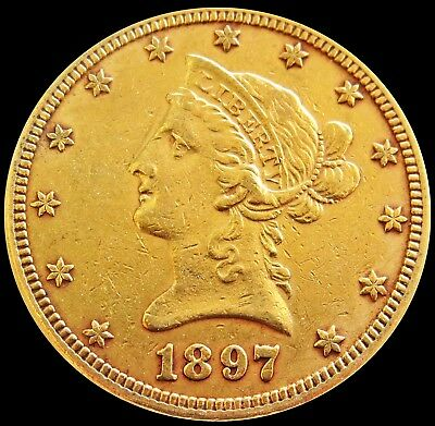 1897 Gold United States $10 Dollar Liberty Head Eagle Coin Philadelphia Mint
