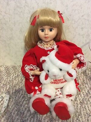 Vintage TELCO Animated Motion-Ette Christmas SITTING Girl Doll W/ teddy bear