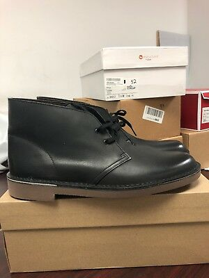 592499be949b CLARKS MENS BLACK LEATHER BOOT Bushacre 2 Chukka BOOTS Size 12M 031 ...