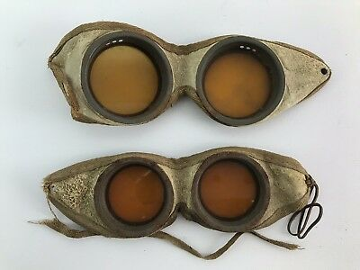 Pair of Vintage / Antique Leather Motorcycle Aviator Steampunk Goggles