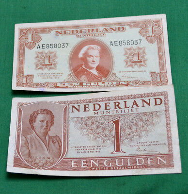 Dutch Banknotes 1945 & 1949 1 Gulden