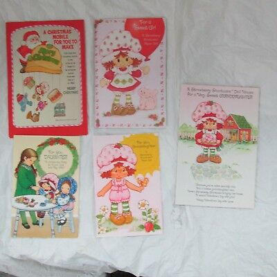 Lot of 5 Strawberry Shortcake  Paper Dolls Greeting Cards 1980's