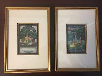Pair Gold Framed Original Indian Mughal Antique Painting Shiva Wedding Gift NR!