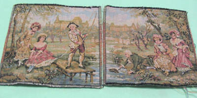 2 vintage small tapestry panels Victorian pond children scenes made in France