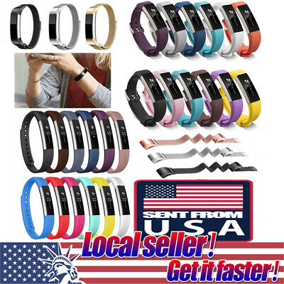 US Silicone Milanese Stainless Steel Watch Band Bracelet Strap For FitBit Alta o