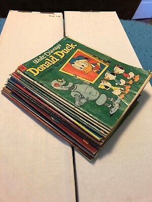 Lot of 16 Early Donald Duck Comics - #'s 28 - 82 - Dell - 1950's