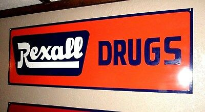 Painted REXALL DRUGS (NOT) Porcelain METAL SIGN GAS OIL GENERAL STORE Pharmacy