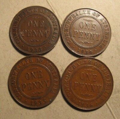 Australian KGV pennies, 4 different years from the 1930's (C80) refer note