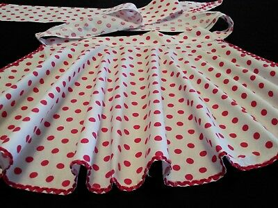 Beautiful Pleated Gathered Skirt Red Polka Dot Hand Made Vintage Half Apron