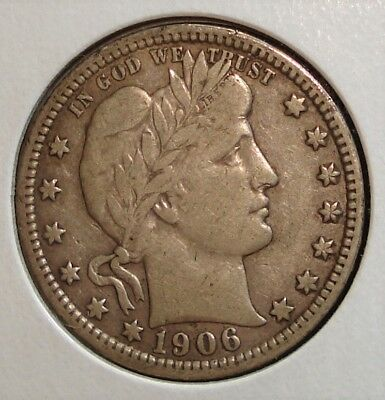 """1906-D Silver Barber Quarter, Close to Full """"LIBERTY"""" in the Headband"""