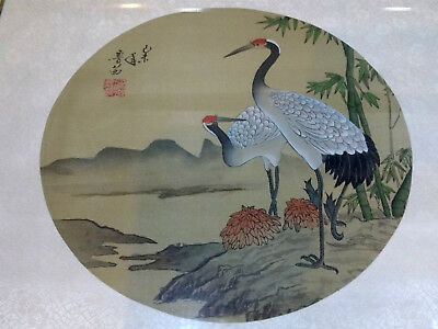 Vintage Japanese Original Painting on Silk of Cranes Signed by the Artist.