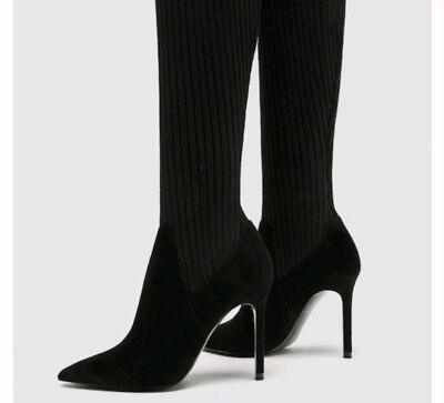 90236f0a007 ZARA SOCK STYLE High Heel Over The Knee Boots Black