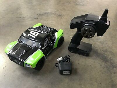 Mad Gear 1/16 Electric Short Course RC Racing Truck 2.4ghz RTR Green - USED