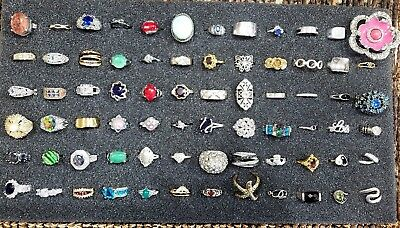 Big Lot of 72 Vintage 2Now Costume Silver Plated Gold Filled Some Sterling Rings