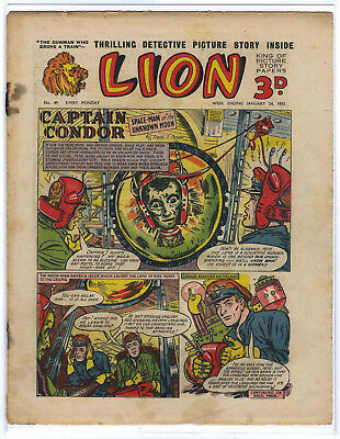Lion 24th Jan 1953 (#49, mid-high grade) Captain Condor, Amazing Advs of Mr X