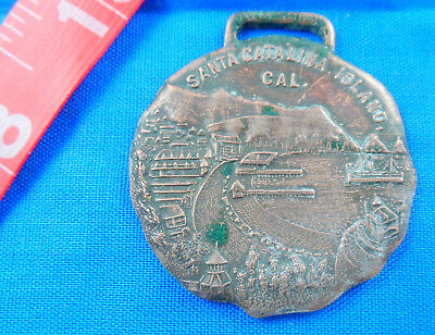 """Antique Avalon Bay Catalina Island Copper ? Scenic Watch Fob Medal -1-1/2"""" 1910"""