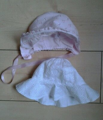 Baby girls sun hat 6-12 months Pink White x 2