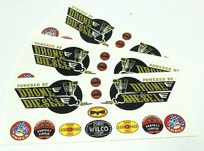 LOT Drone Diesel Power Engine Tether Car Plane Boat Racer Waterslide Decal 3 Set