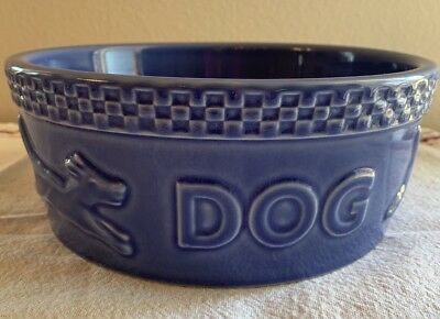 Longaberger Mulligan Blue Dog Food Dish, Medium 7 1/2""