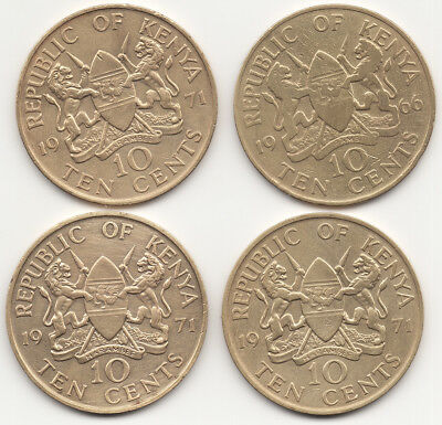 4 Kenya Africa 10 Ten Cents 1966 1971 Coins