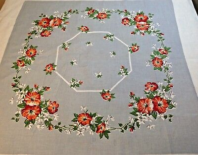 Vtg 1950s Mid Century Print Cotton Floral Tablecloth Fine Linen Morning Glories