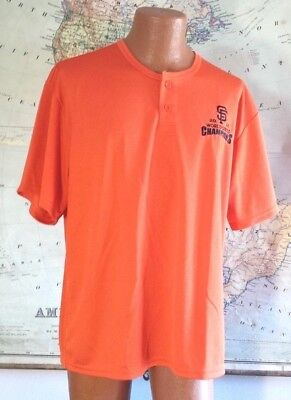 2014 San Francisco Giants World Series Orange Mesh Henley Shirt / Sport-Tek (XL)