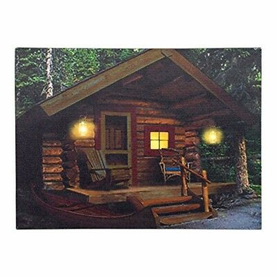 """Wall Art Canvas Cabin Lodge LED Light Up Rustic Home Decor 16x12"""" Gift New"""