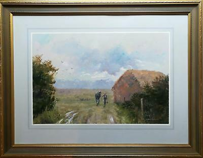 Colin Crocker - Original Acrylic Painting - Figure And Horse In Rural Landscape.