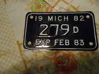1982 michigan moyorcycle dealer license plate nos