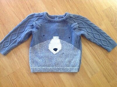 MOTHERCARE baby boys soft blue knitted bear jumper - 6-9 months