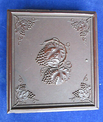 1855+ 1/6 Plate Union Case Gutta Percha Ambrotype Young Widow-Embossed Grapes