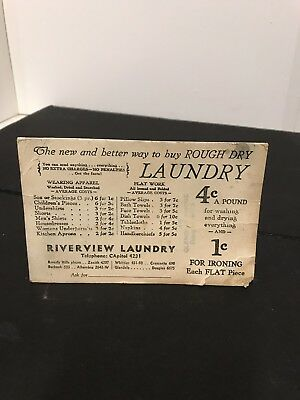 ANTIQUE LAUNDRY ADVERTISING AT RIVERVIEW LAUNDRY, Beverly Hills Ph. 4207