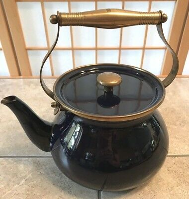 Large Vintage Dark Blue Enamelware Teapot w/solid Brass handle & Trim