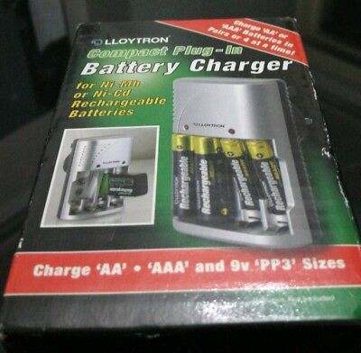 Lloytron Compact Plug-In Battery Charger - Charge Aa / Aaa & 9V Sizes B1502