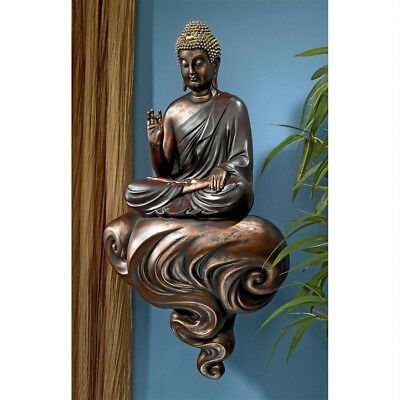 Meditative Enlightened Tranquility Floating Buddha on a Cloud Wall Sculpture