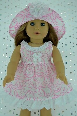 """Doll Clothes For 18"""" American Girl~Our Generation~Journey PINK FLOWER DRESS~HAT"""