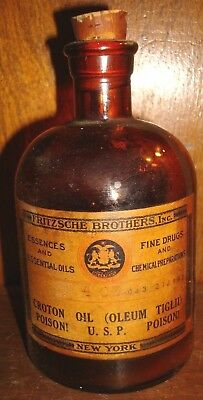 Vintage Fritzsche Brothers Croton Essential Oil Oleum Tiglid Perfume Bottle