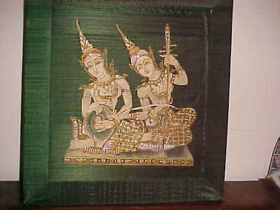 Goddess Thai Gold Silver Painting Silk Tapestry Burmese Buddhist Parvati Twin