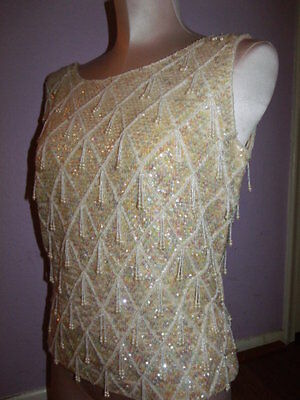 Vintage 60s Forecast Heavily Beaded Drop Pearl Sequin Cream Knit Top M/L