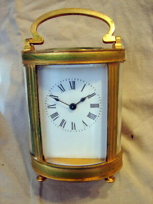Antique French Brass Carriage Clock With Porcelain Face In Original Wood Case