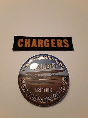 Biplane Pin Back The New Standard D-52 + a Chargers Patch R/C Clubs